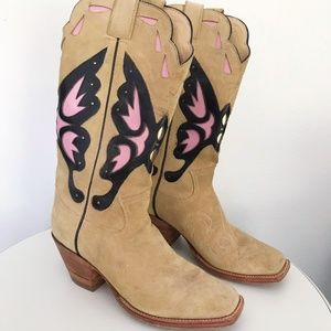 Custom Made Suede Butterfly Cowboy Boots Sz 10.5 M